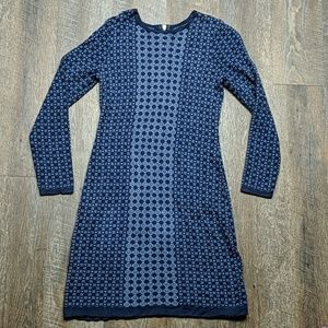 Blue knit geometric pattern dress Cynthia Rowley
